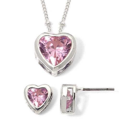 Rose Heart Cubic Zirconia Pendant Necklace & Earring Set