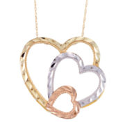 10K Gold Tri-Tone Openwork Triple Heart Pendant Necklace