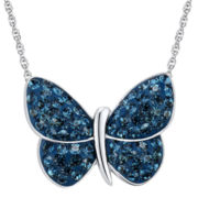 Sterling Silver Montana Blue Crystal Butterfly Pendant