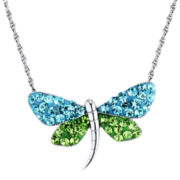 Sterling Silver Blue & Green Crystal Dragonfly Pendant