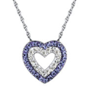 Sterling Silver Purple & Clear Crystal Heart Pendant Necklace