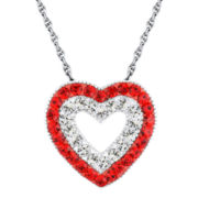 Sterling Silver Siam Red & Clear Crystal Heart Pendant