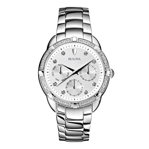 Bulova® Womens Diamond-Accent Stainless Steel Bracelet Watch 96R195