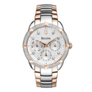Bulova® Womens Two-Tone Diamond-Accent Multifunction Watch