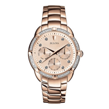 jcpenney.com | Bulova® Womens Diamond-Accent Rose-Tone Stainless Steel Bracelet Watch 98R178
