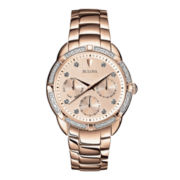 Bulova® Womens Diamond-Accent Rose-Tone Stainless Steel Bracelet Watch 98R178
