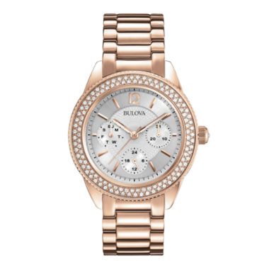 jcpenney.com | Bulova® Womens Crystal-Accent Rose-Tone Stainless Steel Bracelet Watch 97N101