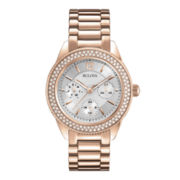 Bulova® Womens Crystal-Accent Rose-Tone Multifunction Watch