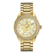 Bulova® Womens Crystal-Accent Gold-Tone Stainless Steel Bracelet Watch