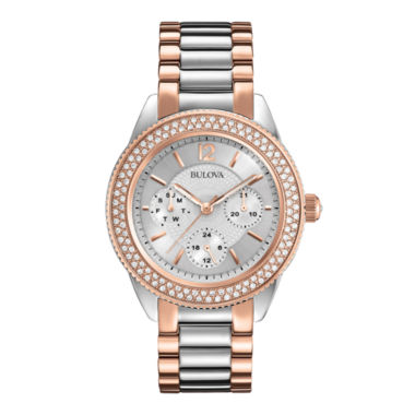 jcpenney.com | Bulova® Womens Crystal-Accent Two-Tone Stainless Steel Bracelet Watch 98N100