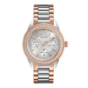 Bulova® Womens Crystal Accent Two-Tone Multifunction Watch