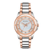 Bulova® Womens Two-Tone Mother-of-Pearl Diamond-Accent Watch