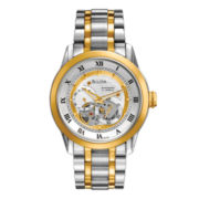 Bulova® Mens Two-Tone Automatic Skeleton-Dial Watch 98A123
