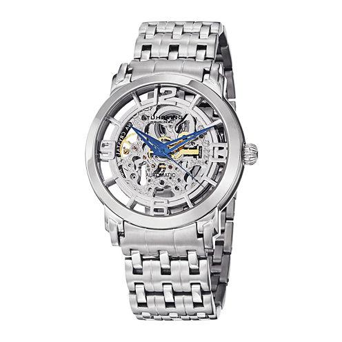 Stührling® Original Mens Stainless Steel Skeleton Automatic Spoke Watch