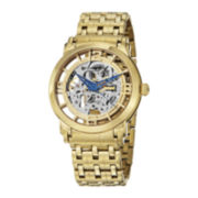 Stührling® Mens Gold-Tone Stainless Steel Skeleton Automatic Spoke Watch