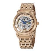 Stührling® Mens Rose-Tone Stainless Steel Skeleton Automatic Spoke Watch
