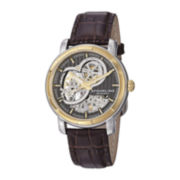 Stührling® Mens Gray Dial Brown Leather Strap Automatic Watch