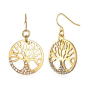 Delicates by PALOMA & ELLIE Crystal-Accent Gold-Tone Tree of Life Earrings