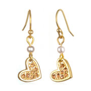 Delicates by PALOMA & ELLIE Crystal-Accent Gold-Tone Peach Heart Earrings