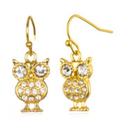 Delicates by PALOMA & ELLIE Crystal-Accent Gold-Tone Owl Earrings