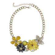 Mixit™ Antique Gold-Tone & Yellow Stone 3D Flower Statement Necklace