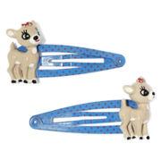 Clarice the Reindeer Blue Christmas 2-pc. Snap Hair Clip Set
