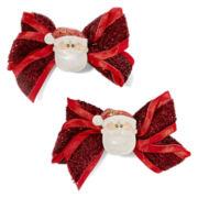 Santa Claus Christmas 2-pc. Bow Hair Clips
