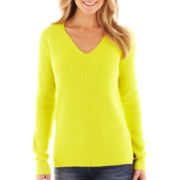 jcp™ Long-Sleeve V-Neck Shaker Sweater - Tall