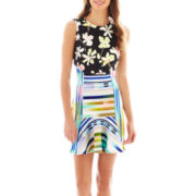Bisou Bisou® Sleeveless Mixed Print Dress