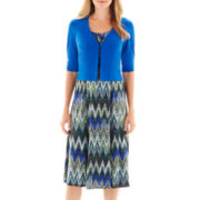 Perceptions Chevron Print Dress with Jacket