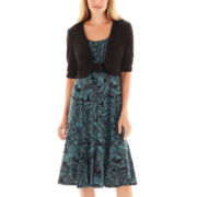 Perceptions Belted Print Dress with Jacket