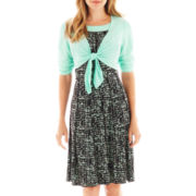 Perceptions Print Dress with Tie-Front Jacket