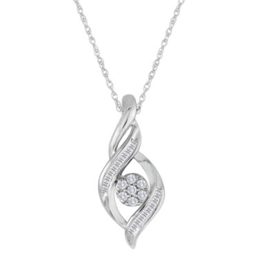 jcpenney.com | diamond blossom 1/5 CT. T.W. Diamond 10K White Gold Cluster Pendant Necklace