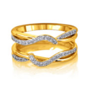 3/8 CT. T.W. Diamond 14K Yellow Gold Swirl Ring Guard