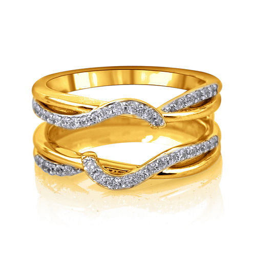 3/8 CT. T.W. Diamond 14K Yellow Gold Swirl Ring Wrap