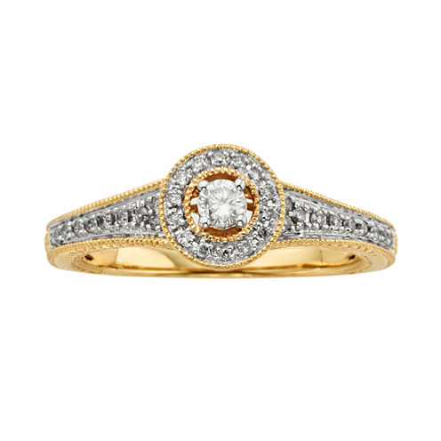 1/4 CT. T.W. Diamond 10K Yellow Gold Promise Ring