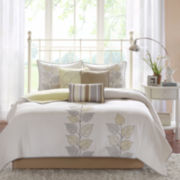 Madison Park Jocelyn Embroidered Leaf 6-pc. Coverlet Set