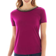 a.n.a® Short-Sleeve Embellished-Neck Tee - Petite