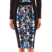 nicole by Nicole Miller® Scuba Knit Print Pencil Skirt