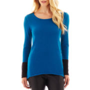 nicole by Nicole Miller® Long-Sleeve Crochet-Back Colorblock Sweater