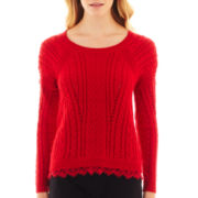 nicole by Nicole Miller® Long-Sleeve Lace-Trim Sweater