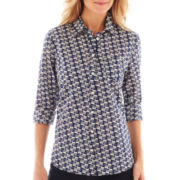 jcp™ Long-Sleeve Relaxed-Fit Button-Front Shirt
