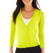 Worthington® 3/4-Sleeve Cable Knit Cardigan Sweater