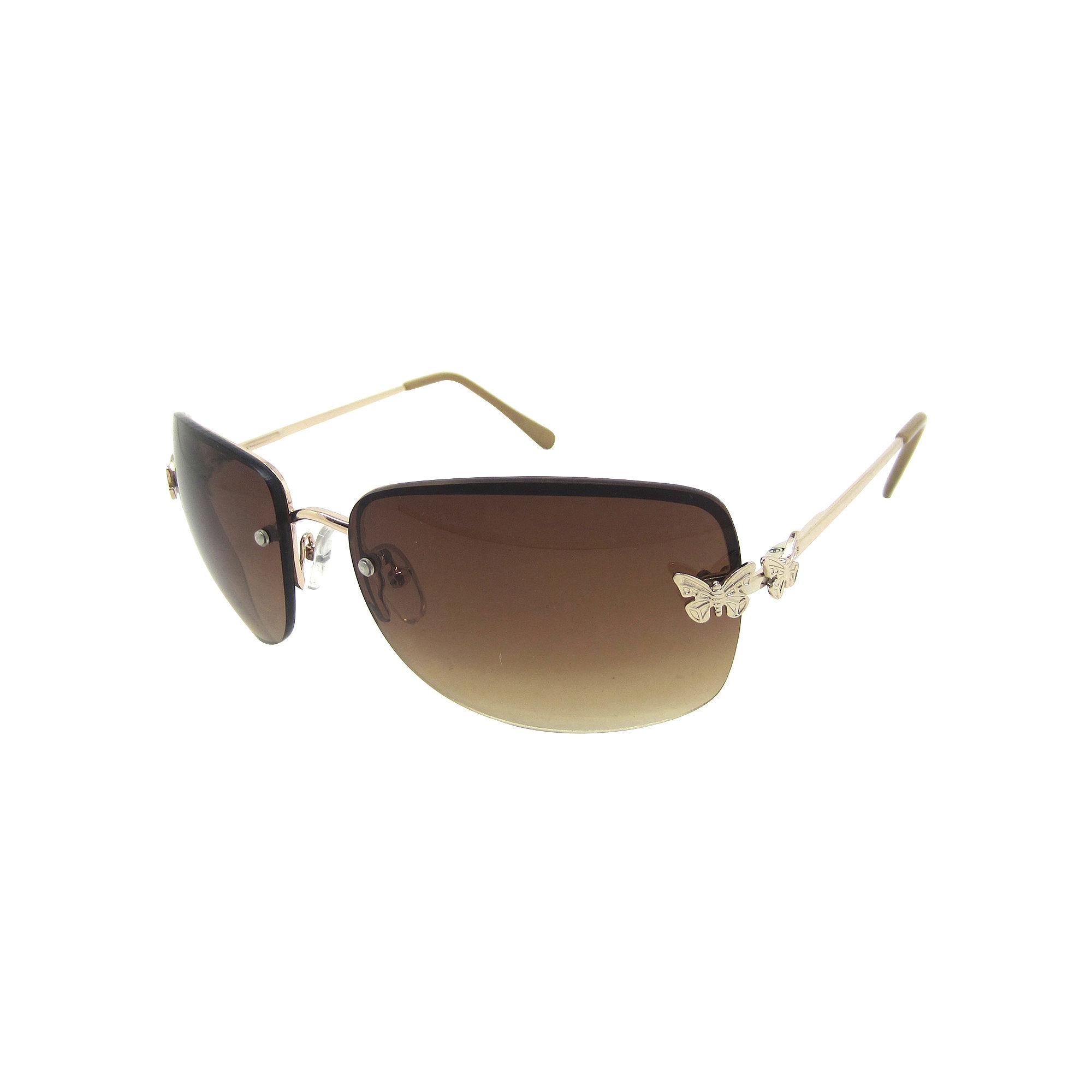 Fantas Eyes Papillion Butterfly Frame Rimless Sunglasses