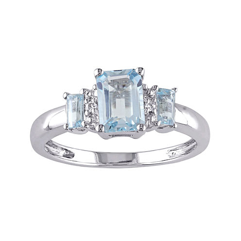 Genuine Sky Blue Topaz and Diamond-Accent 3-Stone Ring