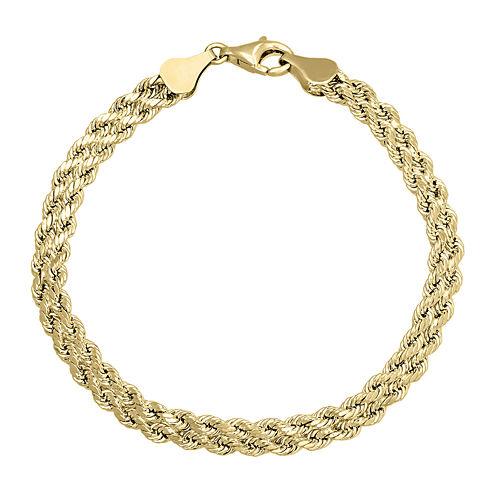 "10K Gold  4.9mm 7.25"" Double Rope Bracelet"
