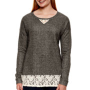 Arizona Long-Sleeve Lace Sweatshirt - Juniors Plus