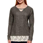 Arizona Long-Sleeve Lace Sweatshirt - Juniors Plus