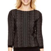 Worthington® 3/4-Sleeve Textured Pullover Sweater - Tall