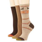 Gold Toe® Womens 3-pk. Nordic Deer Crew Boot Socks
